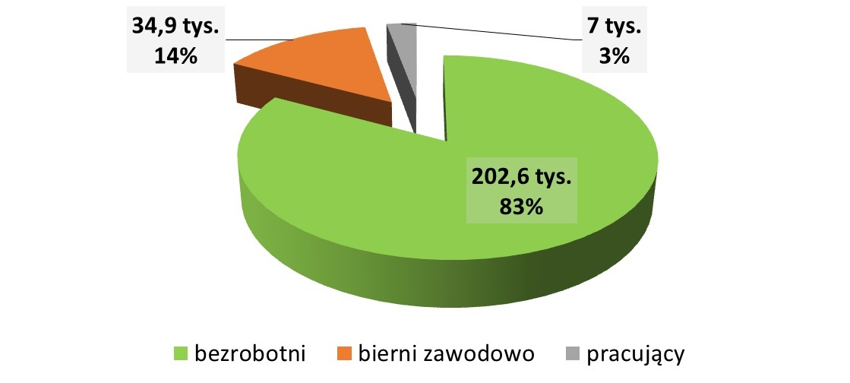 Infografika przedstawiająca wsparcie w Programie Wiedza Edukacja Rozwój. Z programu skorzystało 202,6 tysięcy bezrobotnych, 34,9 tysięcy biernych zawodowo i 7 tysięcy pracujących.